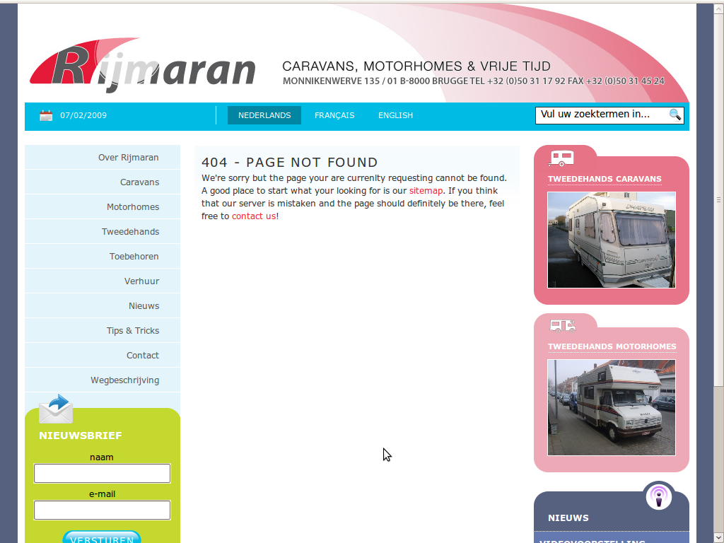 404 on the new Rijmaran website
