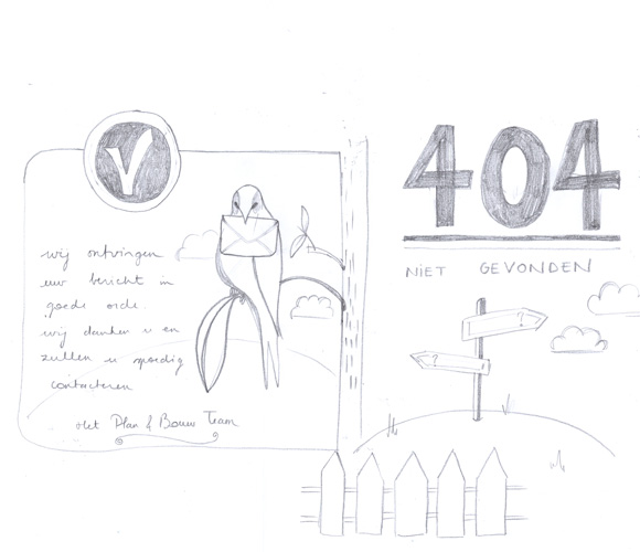 sketching the illustrations for the form result page and the  404 page not found