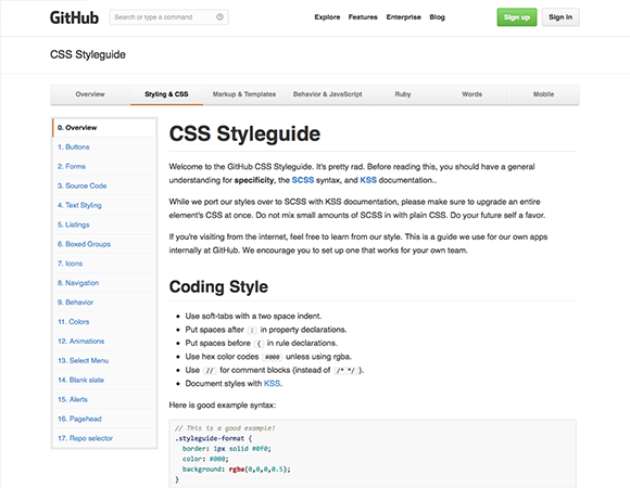 GitHub CSS Style Guide